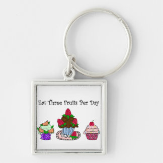 Eat Three Fruits Per Day Silver-Colored Square Keychain