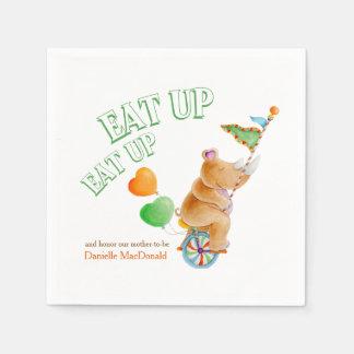 Eat up whimsy unicycle rhino baby shower napkins paper napkin