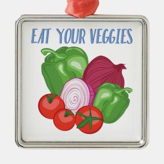 Eat Veggies Silver-Colored Square Ornament