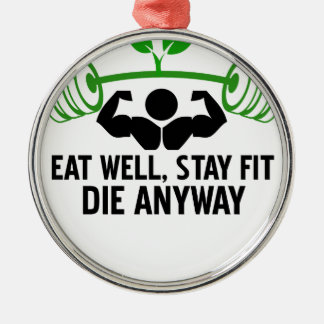 eat well graphic design Silver-Colored round ornament