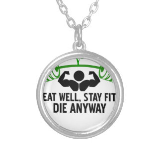 eat well graphic design silver plated necklace