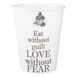 """""""Eat without guilt"""" Paper Cup, 266 ml Paper Cup"""