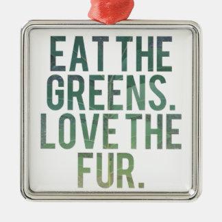 Eat Yo Greens! Silver-Colored Square Ornament