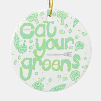 eat your greens ceramic ornament