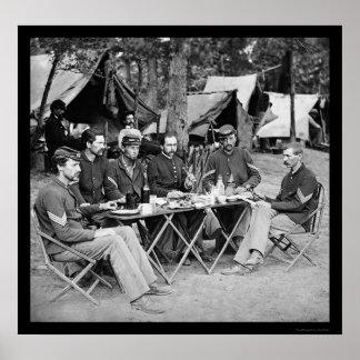 Eating at the Camp Mess at Bealeton, VA 1863 Poster