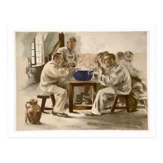 Eating Soup at the Barracks, from 'L'Estampe Moder Postcard