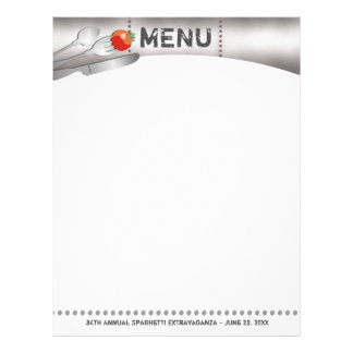 eating utensils metal tomato menu letterhead