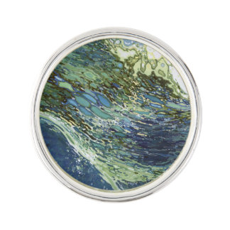 Ebb & Flow Ocean Waves Silver Plated Lapel Pin