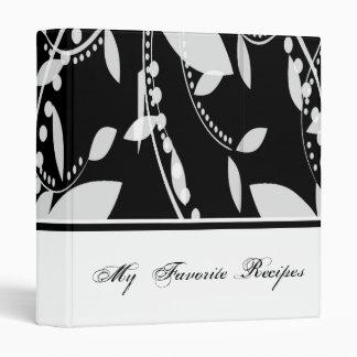 Ebony and Ivory Leaves Recipe Book Binder
