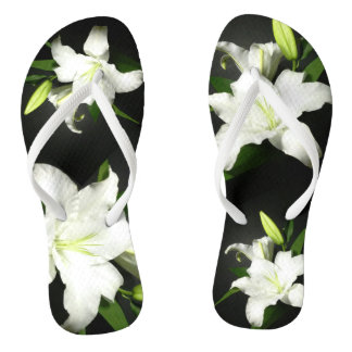 Ebony and Ivory Lily Shower Shoes FlipFlops