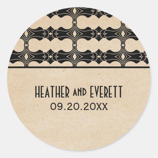 Ebony Art Deco Border Wedding Stickers