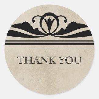 Ebony Elegant Deco Thank You Stickers