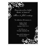 Ebony Floral Swirls Bridal Shower Invitation
