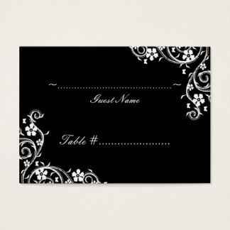 Ebony Floral Swirls Wedding Seating Card