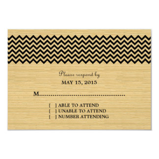 Ebony Rustic Chevron Response Card Invitation