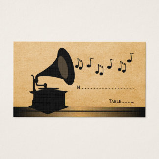 Ebony Vintage Gramophone Place Card
