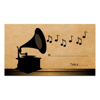 Ebony Vintage Gramophone Place Card Business Card Templates