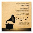 Ebony Vintage Gramophone Wedding Invite v2