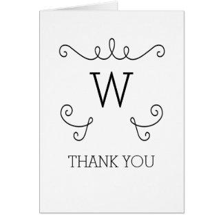 Ebony Whimsical Flourish Monogram Thank You Card
