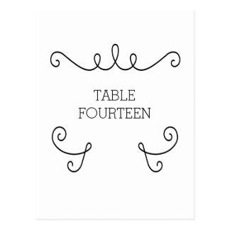 Ebony Whimsical Flourish Table Number Postcard