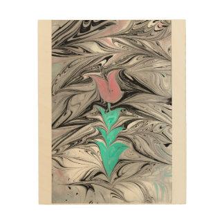Ebru Tulip Wooden Art Wood Prints
