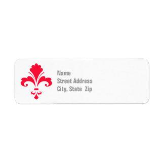 Écarlate Fleur-De-lis rouge Étiquettes D'adresse Retour