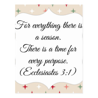 Ecclesiastes For everything there is a season Postcard