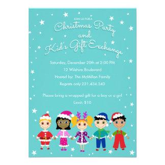 Échange de cadeau de la fête de Noël et de Cartons D'invitation