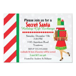 Échange secret de cadeau de Père Noël Carton D'invitation 12,7 Cm X 17,78 Cm