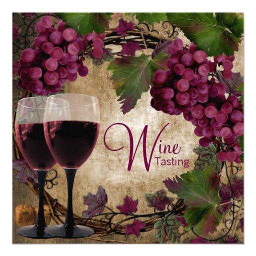 Échantillon de vin vert rouge vintage de raisins cartons d'invitation