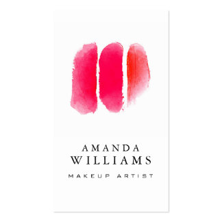 Échantillons rouges de maquilleur d'aquarelle carte de visite standard