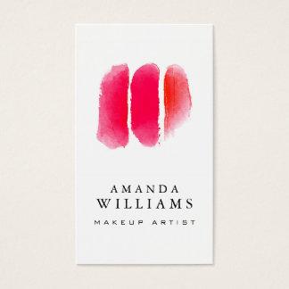 Échantillons rouges de maquilleur d'aquarelle cartes de visite