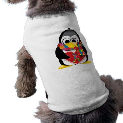 Écharpe de pingouin de ruban d'autisme tee-shirts pour toutous