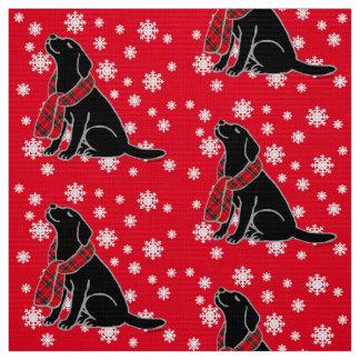 Écharpe noire 2 de tartan de Labrador Tissu