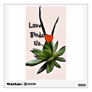 Echeveria Succulent plant, love bind decal. Wall Decal