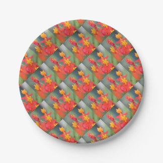 Echeveria Succulent Red and Yellow Flower Paper Plate