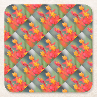 Echeveria Succulent Red and Yellow Flower Square Paper Coaster