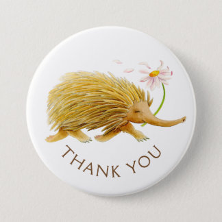 Echidna watercolor animal thank you button/badge 3 inch round button