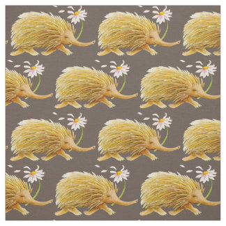 Echidna watercolor whimsy pattern nursery fabric