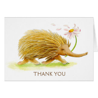 Echidna whimsy animal watercolor art card