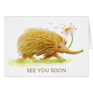 Echidna whimsy animal watercolor see you soon card