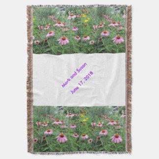 Echinacea Cornflower Wedding Throw Blanket
