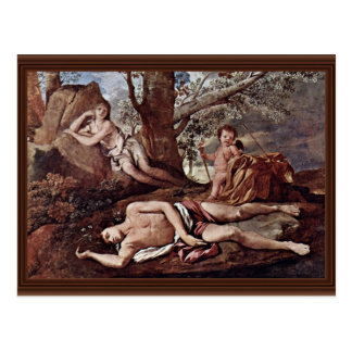 Echo And Narcissus By Poussin Nicolas Postcard