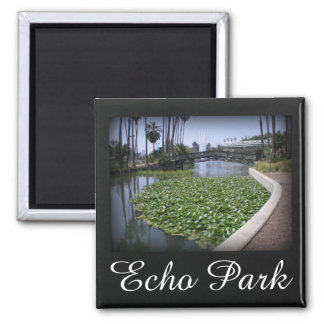 Echo Park Lake in Los Angeles, California Square Magnet