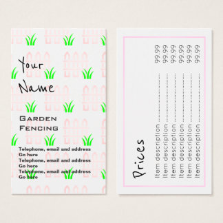 """""""Echoes"""" Garden Fencing Price Cards"""