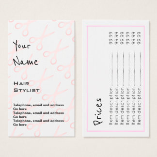 """""""Echoes"""" Hair Stylist Price Cards"""