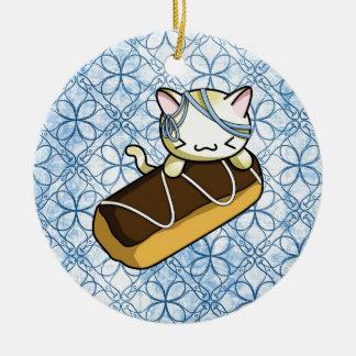 Eclair Kitty Ceramic Ornament