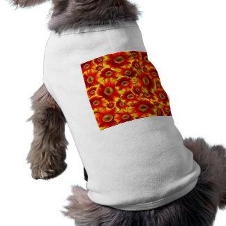 Éclat de couleur floral de jaune orange vêtements pour chien