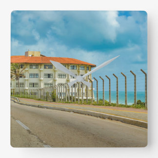 Eclectic Style Building Natal Brazil Square Wall Clock
