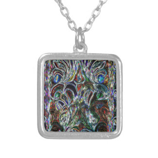 Eclectic Vintage Stained Glass Silver Plated Necklace
